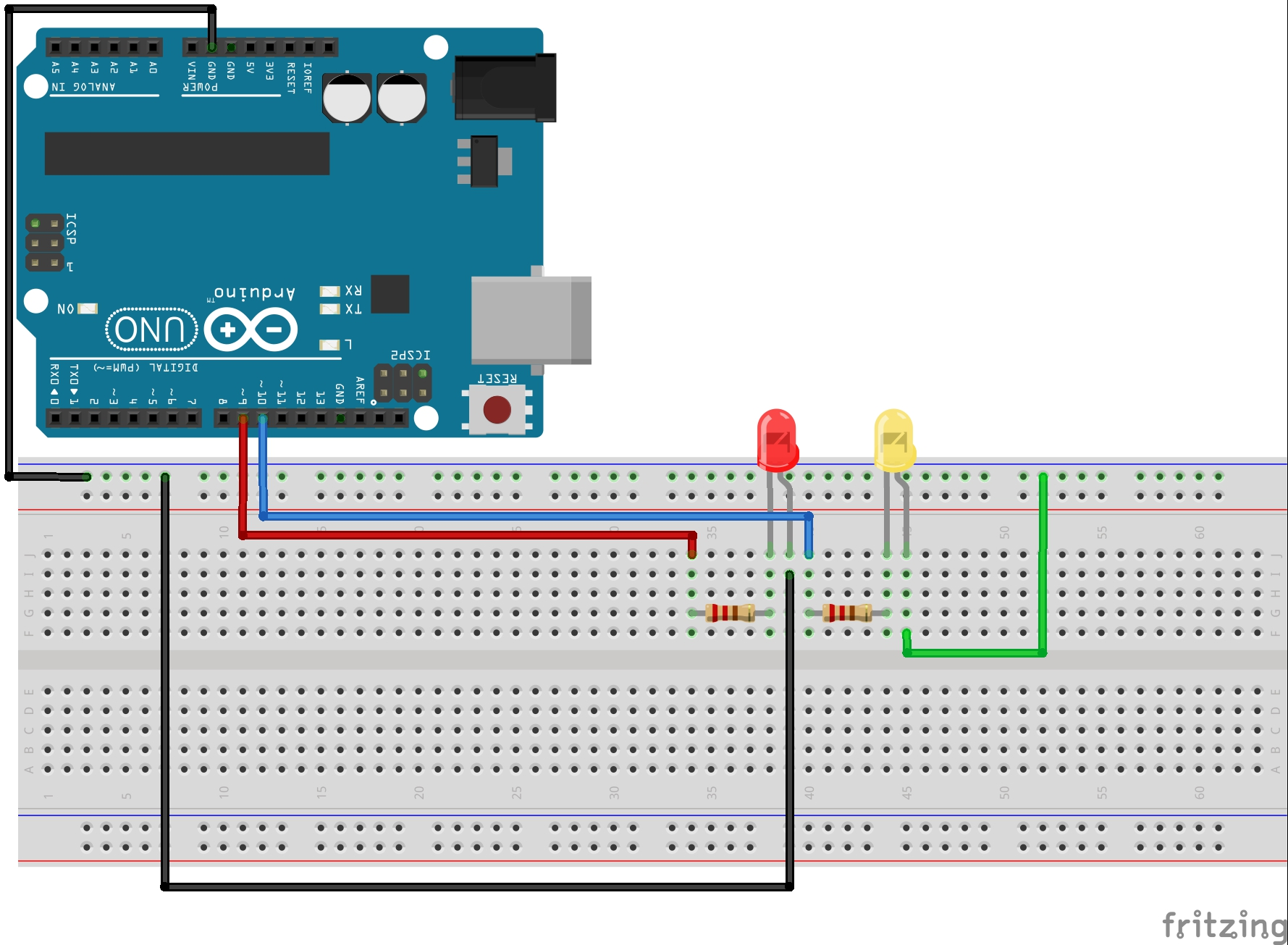 Led Wiring Diagram 3 Arduino Lesson For Loops Simple Circuit Technology Schematic This