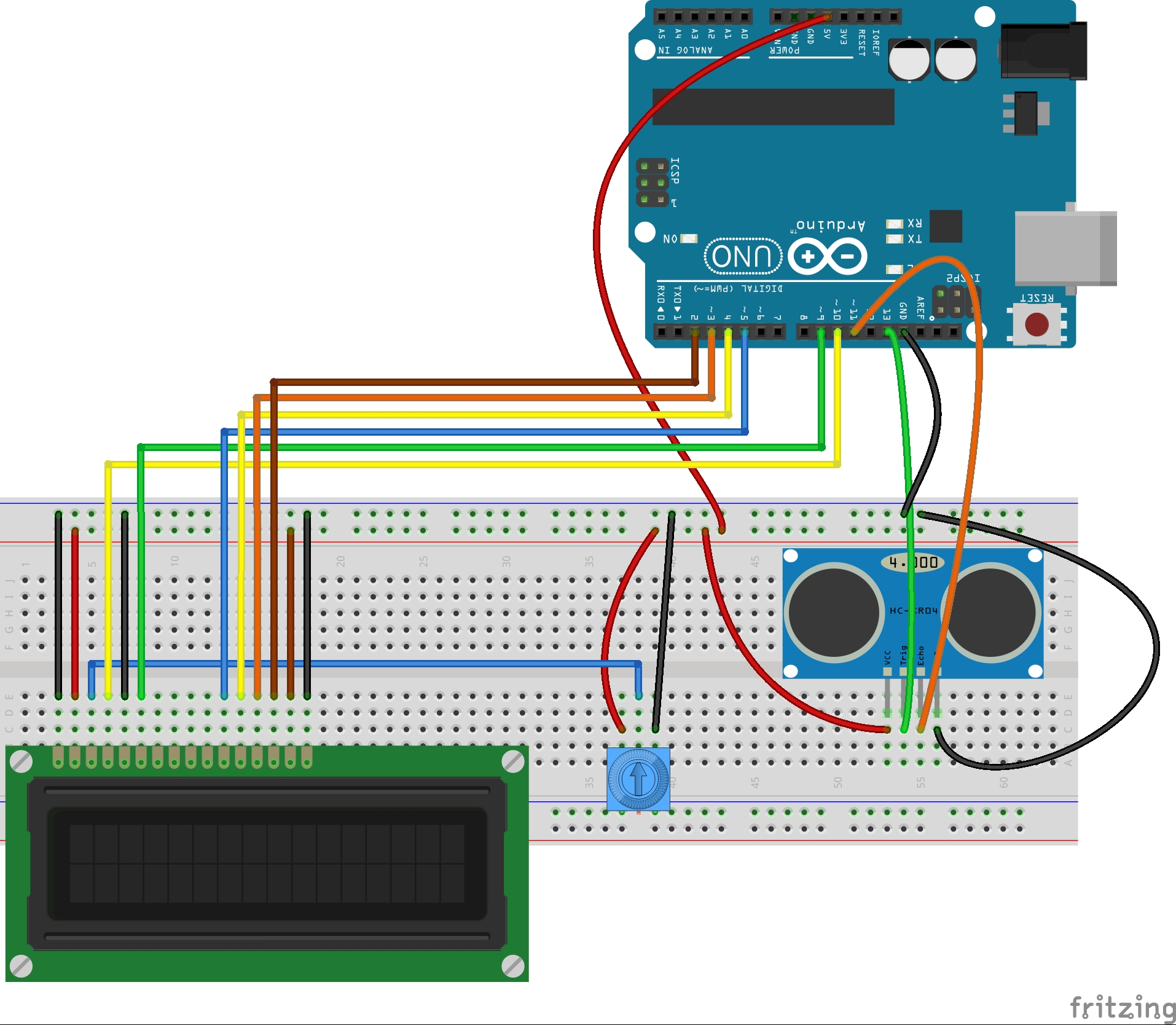Lesson 20 Arduino Lcd Project For Measuring Distance With Microcontroller Based Schematics Circuits Projects And Tutorial