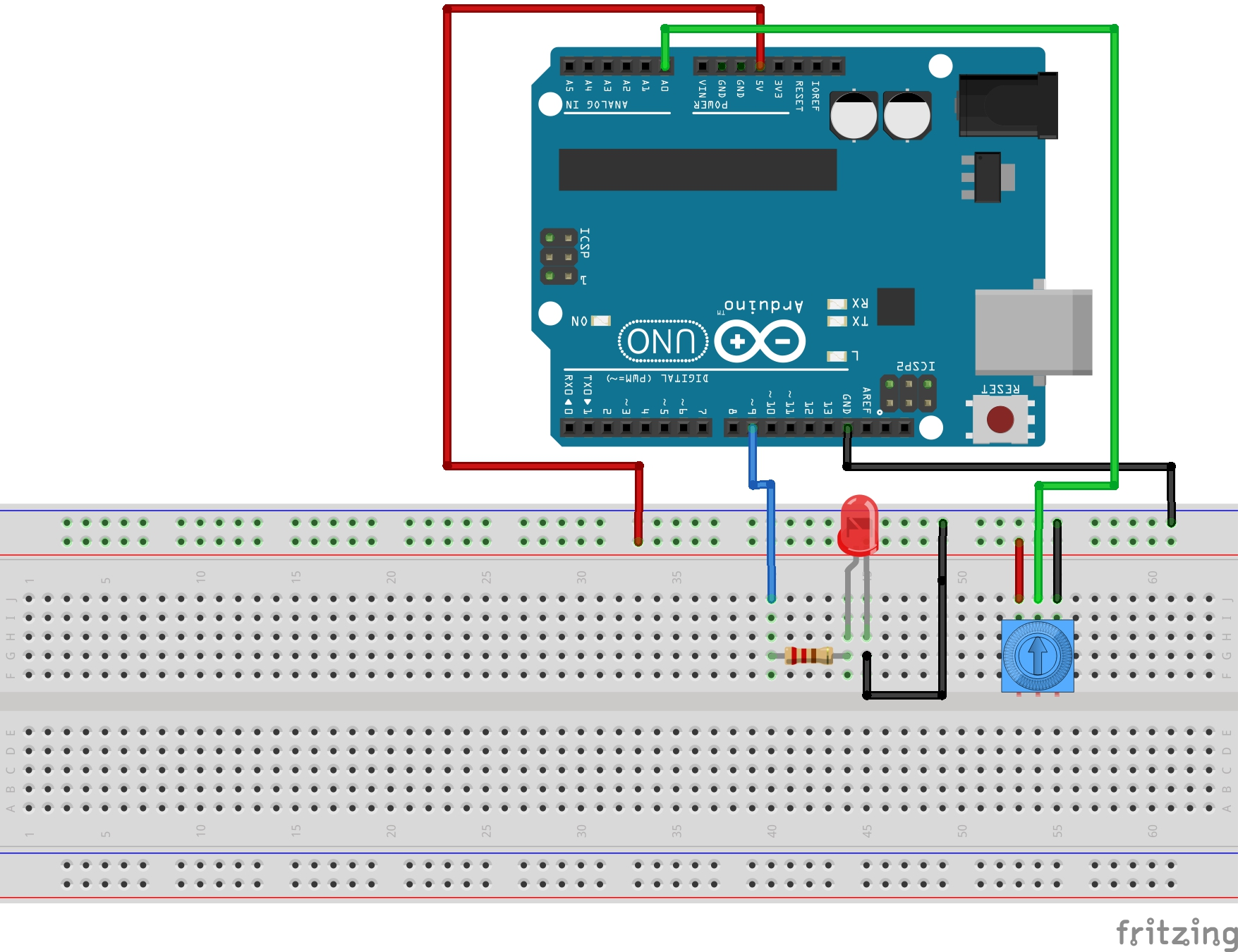 Led Circuit Designer Lesson 11 Arduino To Dim With Potentiometer
